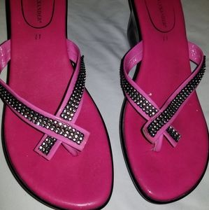 Hot pink sandals with bling